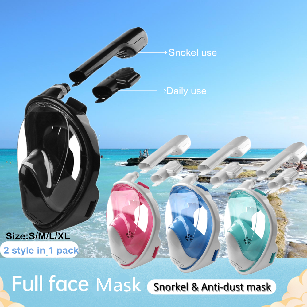 2in1 Full Face Snorkel Diving Mask Swimming Goggles Filter Breathe Valve Protective Dustproof
