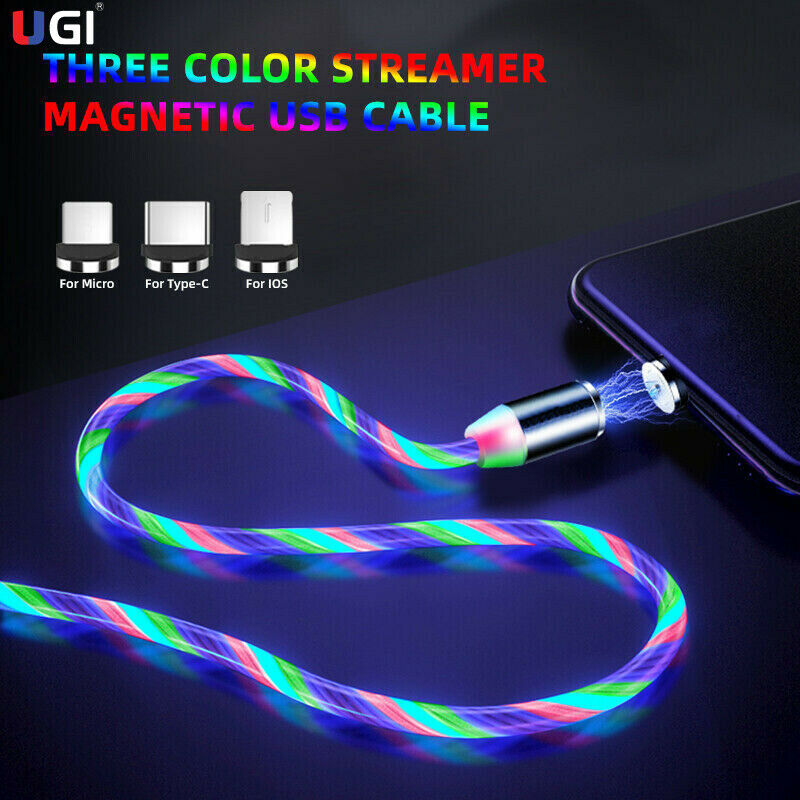 UK Stock LED Flowing Light Up Magnetic Fast Charger Cable For Micro USB Samsung iPhone