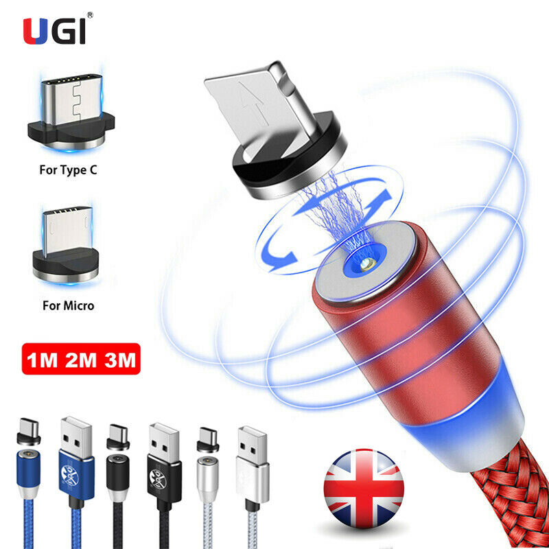 UK Stock 1M 2M 3M 360° Round Magnetic Micro USB Type-C IOS Fast Charger Cable For iPhone 12 11 X SE XS 8 7 6s 6 Plus 5s 5 Samsung S20 S10 S9 S8 S7 Note 20 10 9 8
