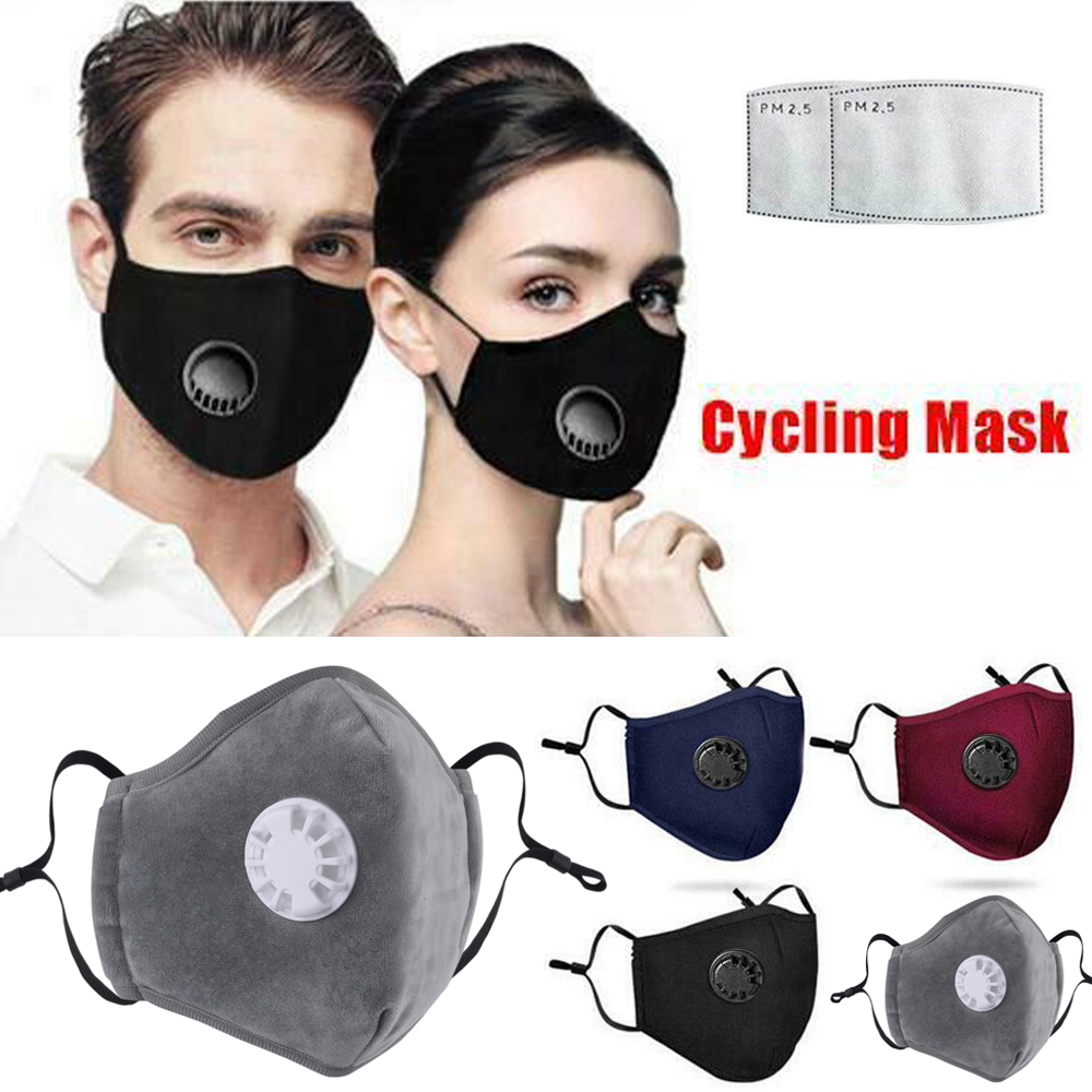 Washable Reusable Anti-pollution Cycling Face Cover Cotton Mask With Respirator W/2 Filter PM2.5