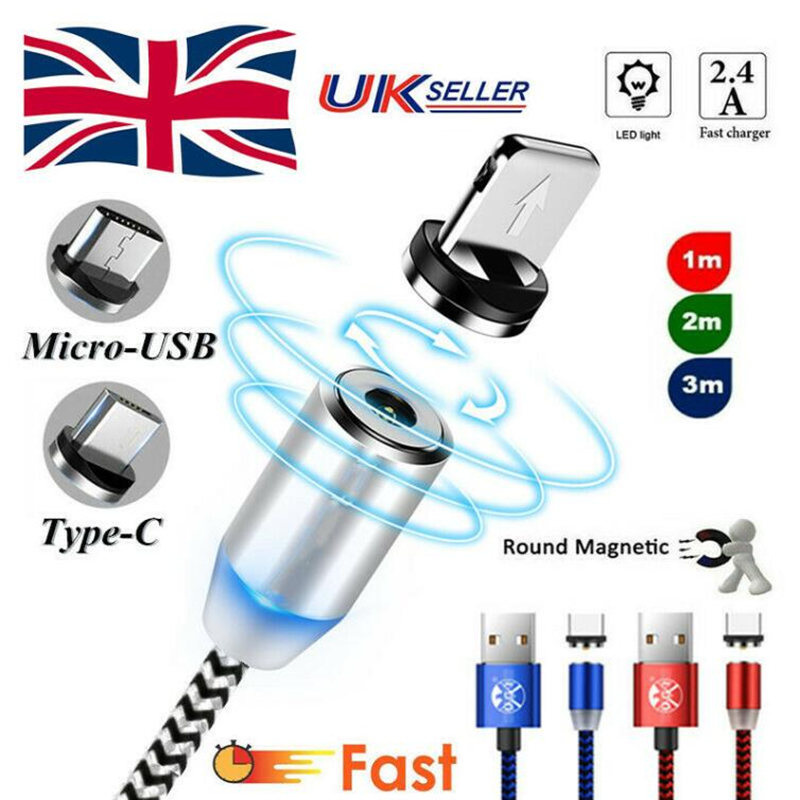 UK Stock 1M 2M 3M 2.4A Quick Charger Magnetic Cable For iPhone 12 11 SE XS XR X 7 6 Samsung Magnet Type-C USB-C Android Phone